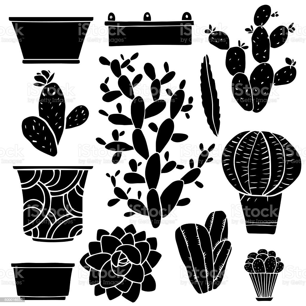 Cacti, houseplants, flowerpots, boxes, vases vector art illustration