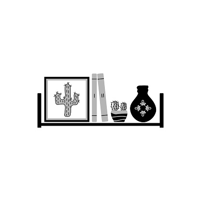 Cacti in a pot, books and a picture are on the shelf. Black and white vector illustration. Flat vector design. The concept of home education