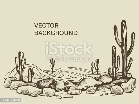 Cacti in the Arizona. Hand drawn vector sketch of the desert of South America prairie landscape.