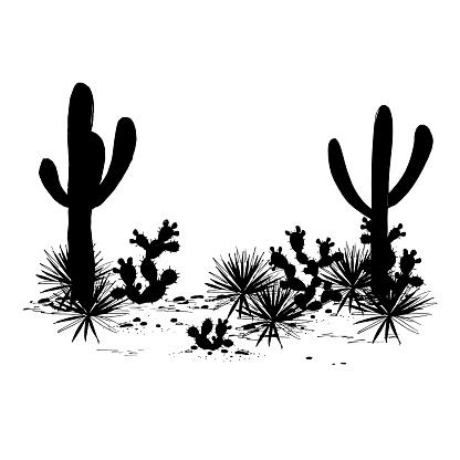 Cacti Landscape Vector Silhouettes Stock Illustration