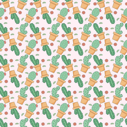 Cacti seamless pattern. Cute cacti in pots. Vector graphics for printing.