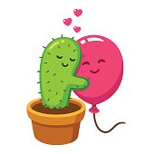 Cactus and balloon hug