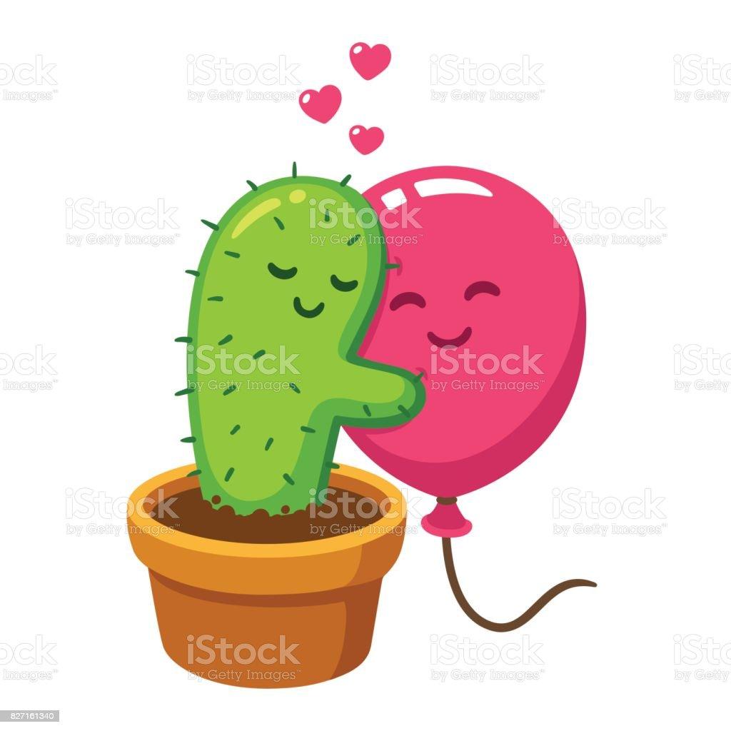 Abrazo de cactus y globos - ilustración de arte vectorial