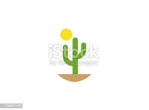 Cactus and sun in desert for logo