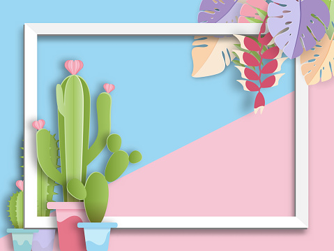 Cactus And Tropical Leaf With Frame Paper Art Summer Concept Stock Illustration - Download Image Now