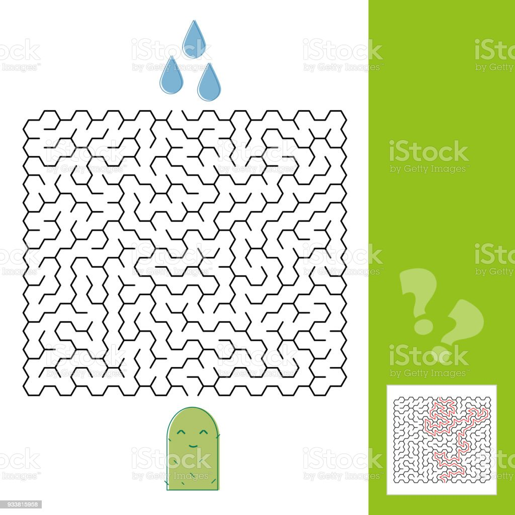 Cactus and water maze game for younger kids with a solution - Vector