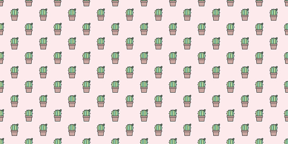 Cactus, cacti simple seamless repeat pattern background.
