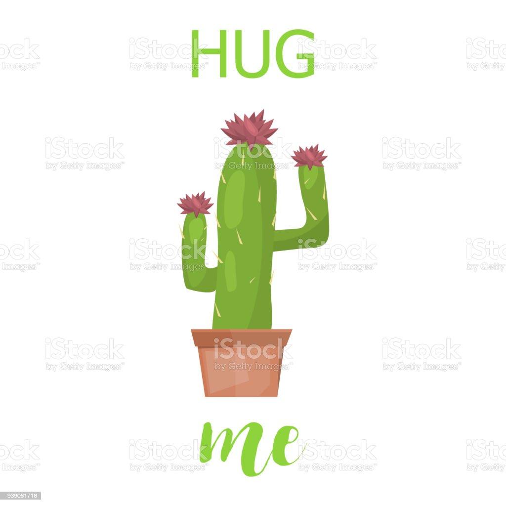 Cactus Tarjeta Vector Creativo Lindo Letras La Plantilla Con La ...
