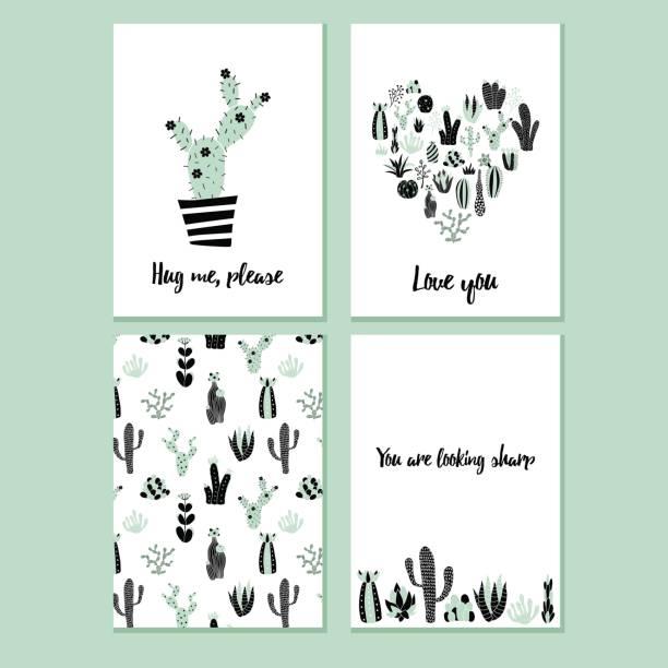 cactus kundenkarte - blumenkalender stock-grafiken, -clipart, -cartoons und -symbole