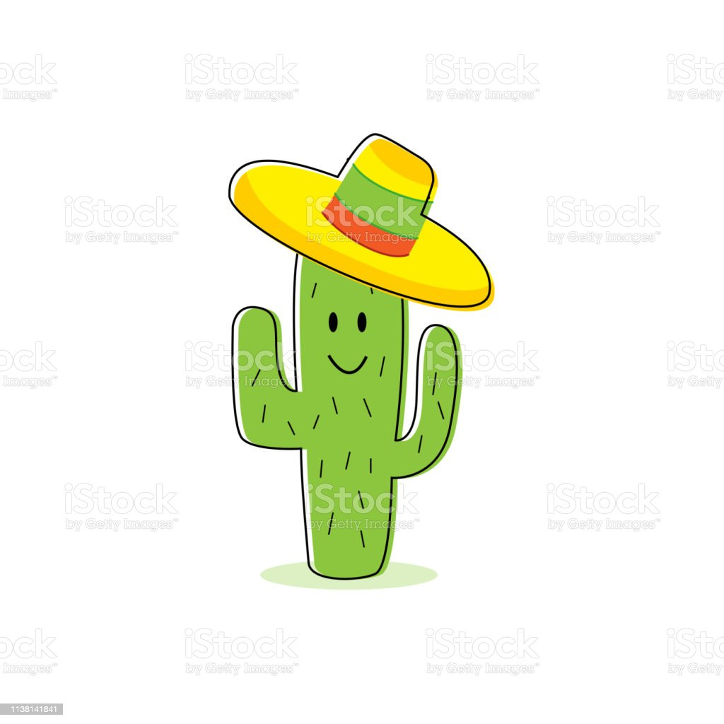 Cactus Cartoon Character Isolated Cactus With Happy Face And