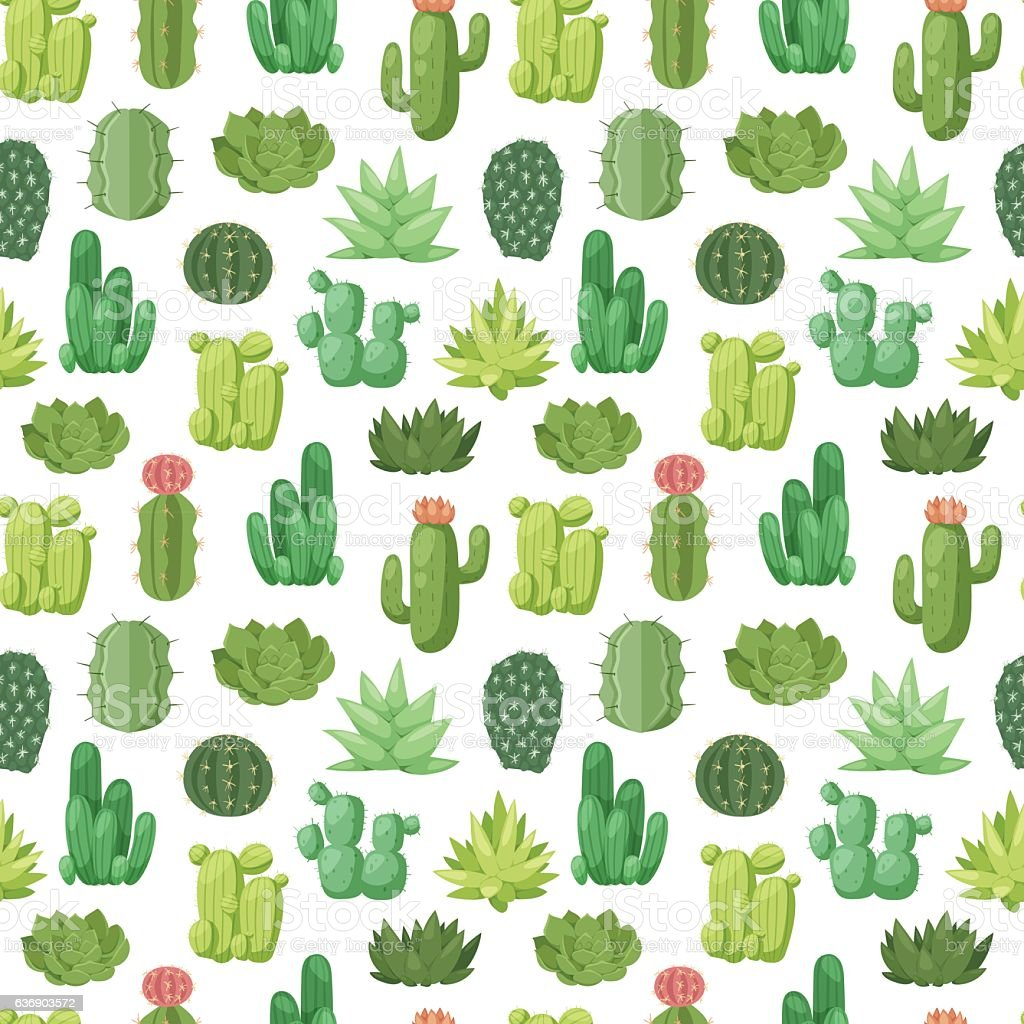 Cactus doodle seamless pattern vector. vector art illustration