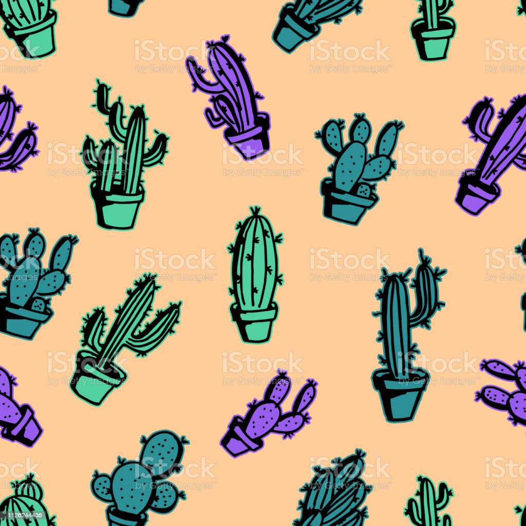 Cactus Doodle Trendy Pastel Colorful Seamless Pattern Cute