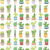 Cactus green plant cactaceous home nature cacti vector illustration of tree with flower seamless pattern background. Cute cartoon cactus nature cactaceous vector illustration.