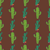 Cactus home nature vector illustration of green plant cactaceous tree with flower seamless pattern background. Cute cartoon cactus nature cactaceous vector illustration.