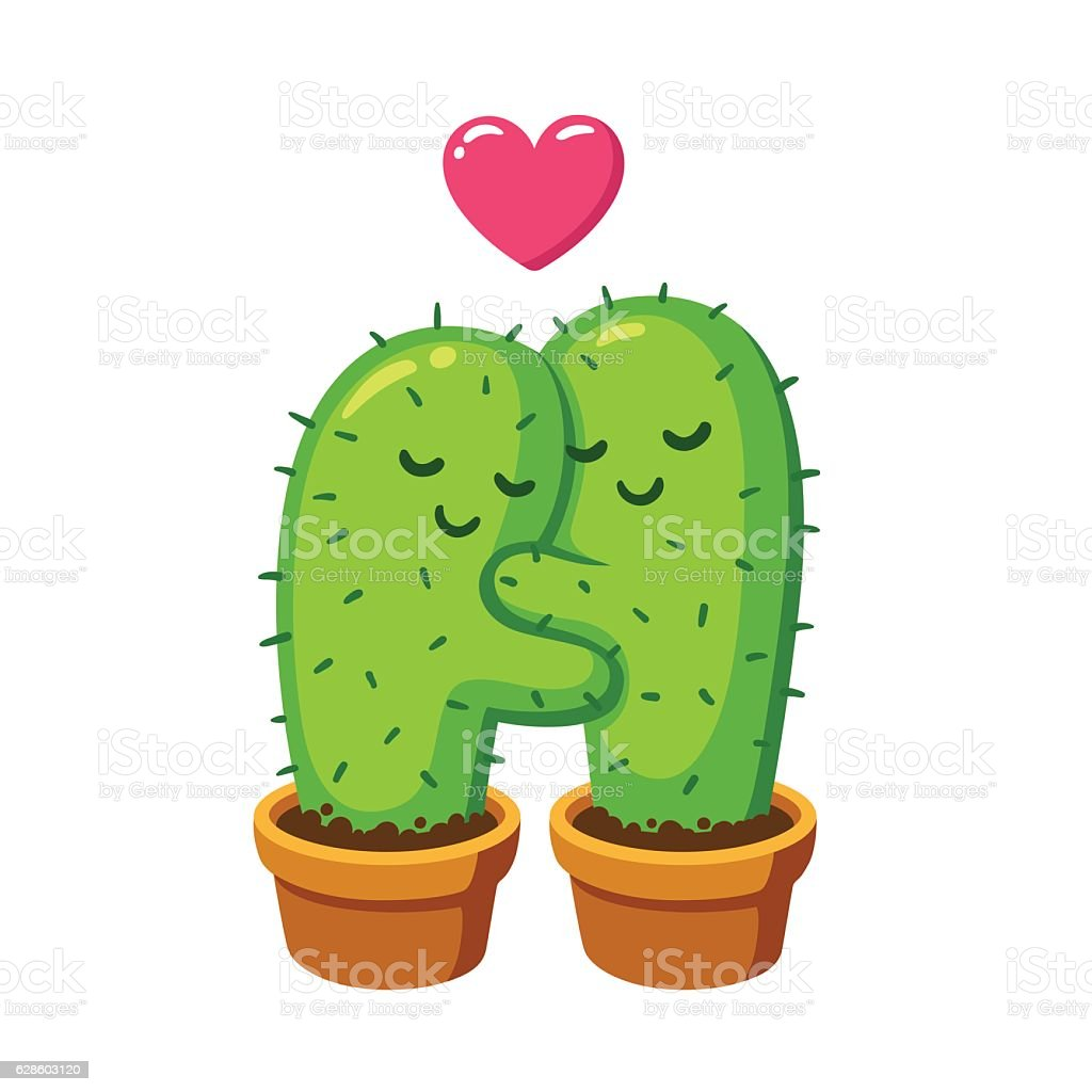 cactus hug illustration