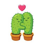 cactus hug illustration