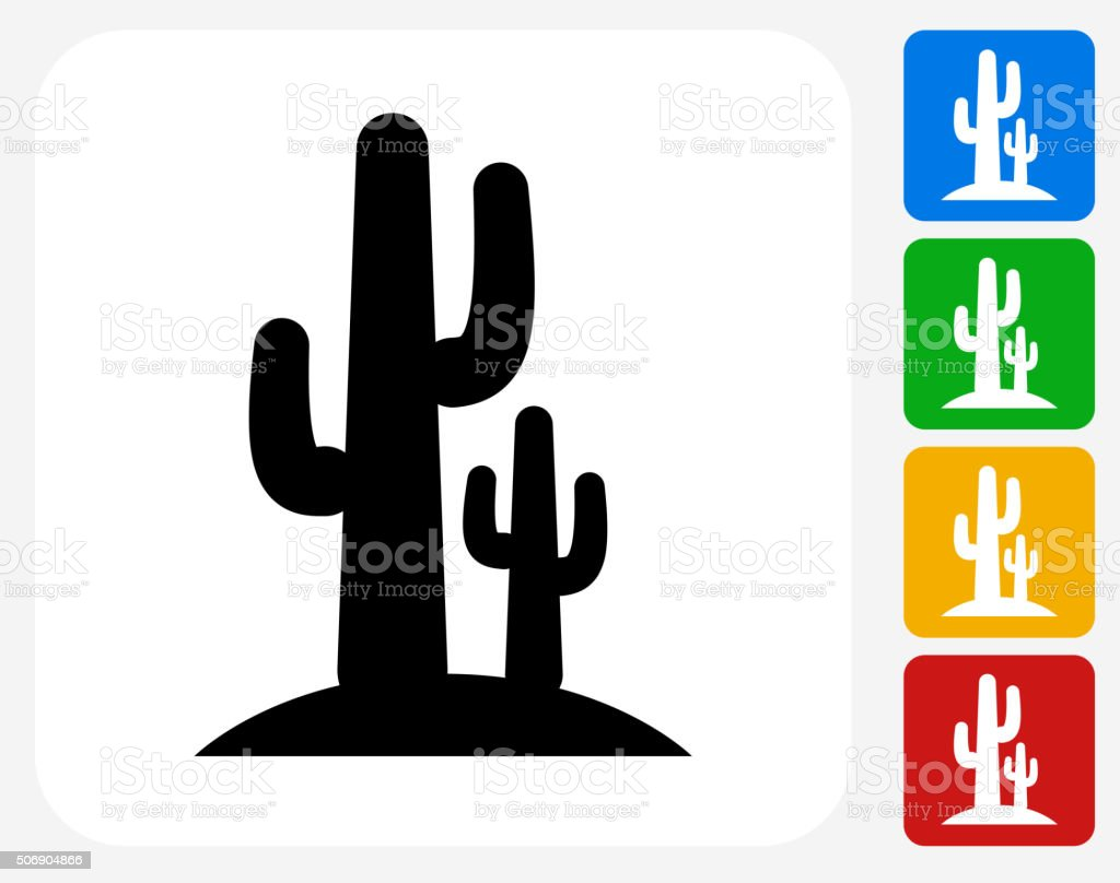 Cactus Icon Flat Graphic Design vector art illustration
