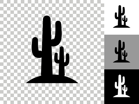 Cactus Icon on Checkerboard Transparent Background