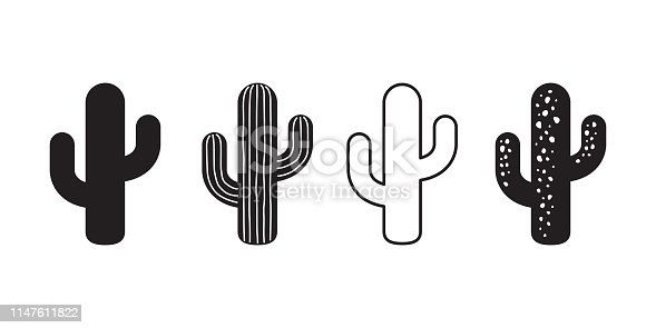 cactus icon vector logo symbol desert flower botanica plant garden summer tropical illustration doodle