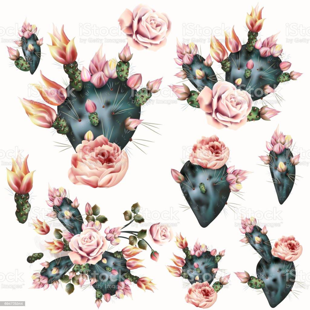 Ilustración De Dibujo De Cactus Con Flores De Color Rosa Fondo