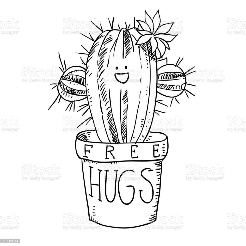 Cactus In Flowerpot Black And White Sketch Cartoon Doodle Vector