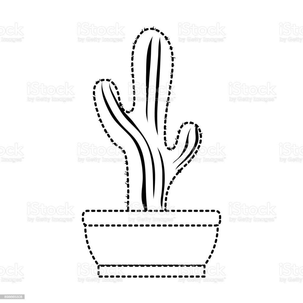 Cactus In Pot Draw Stock Vector Art More Images Of Abstract