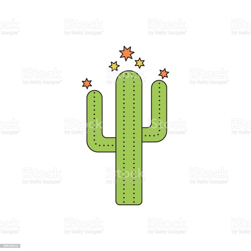 Cactus line icon vector art illustration