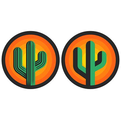 Cactus logo round shape sun background, creative emblem for print t-shirt or sticker