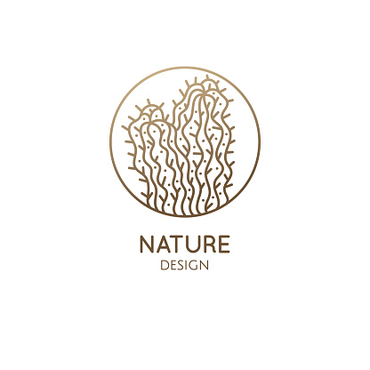 Cactus logo template. Vector emblem of home plant with thorns in linear style. Abstract stylized illustration