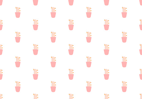 Cactus on a pot seamless pattern. Minimal nature botanical texture. For all your design, fabric, wrapper repeat, graphic design, textile tileable background or backdrop concept. Digital craft. Vector.