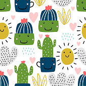 Cactus pattern vector illustration. Hand-drawn seamless of funny characters. Childish drawing cute botanical garden nursery style, good for baby, kids, and children fashion textile print.