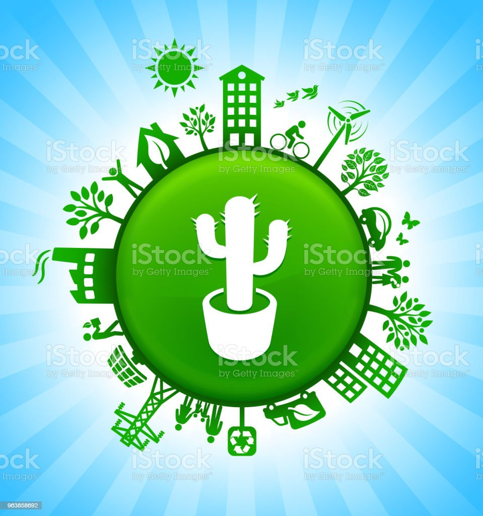 Cactus Plant Environment Green Button Background on Blue Sky - Royalty-free Alternative Energy stock vector