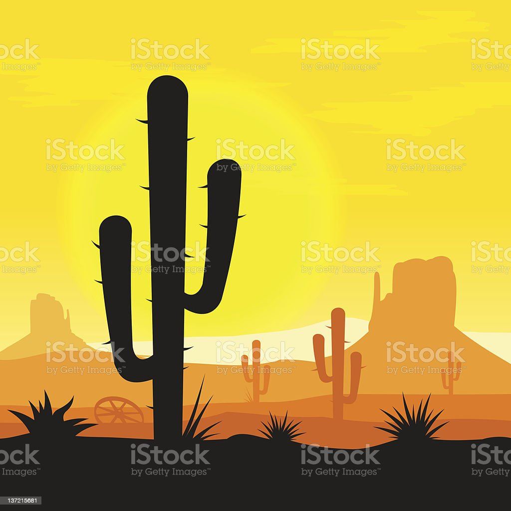 Cactus plants in desert vector art illustration