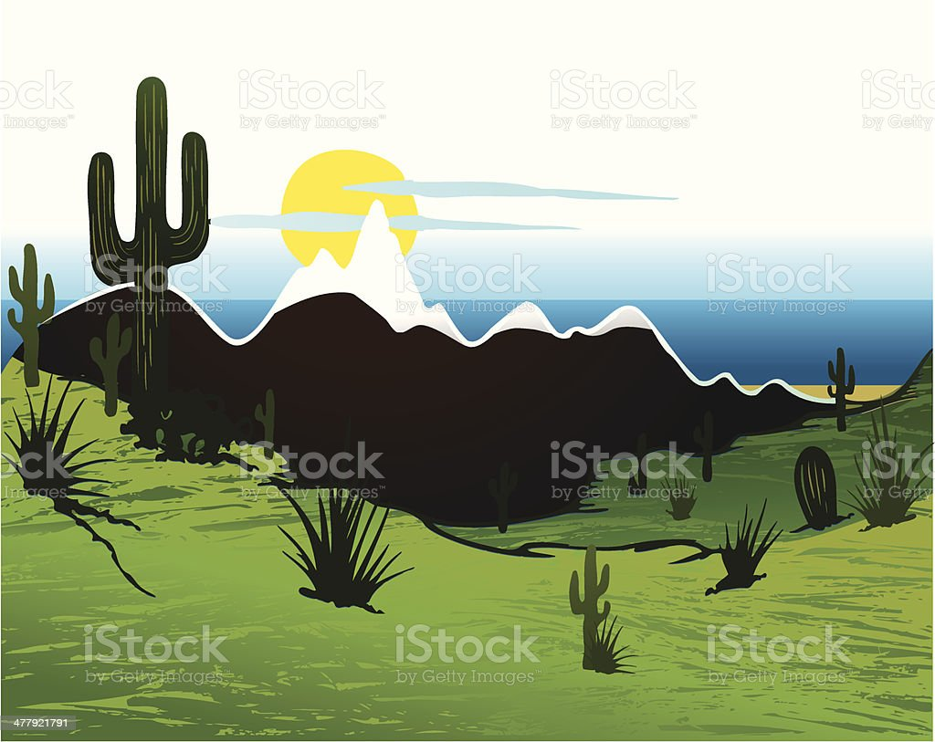 Cactus saguaro, mountains and river. Vector royalty-free stock vector art