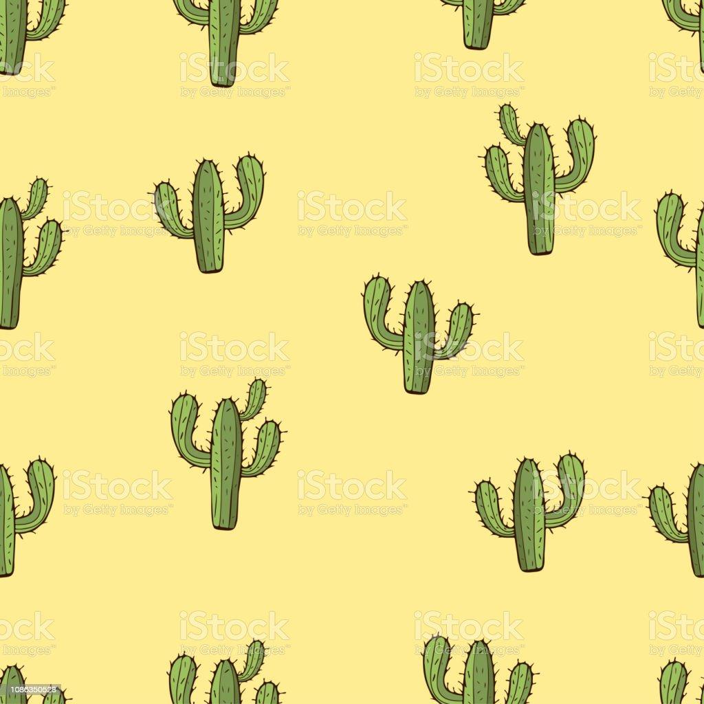 Modèle Sans Couture De Cactus Main Dessin Illustration Vectorielle
