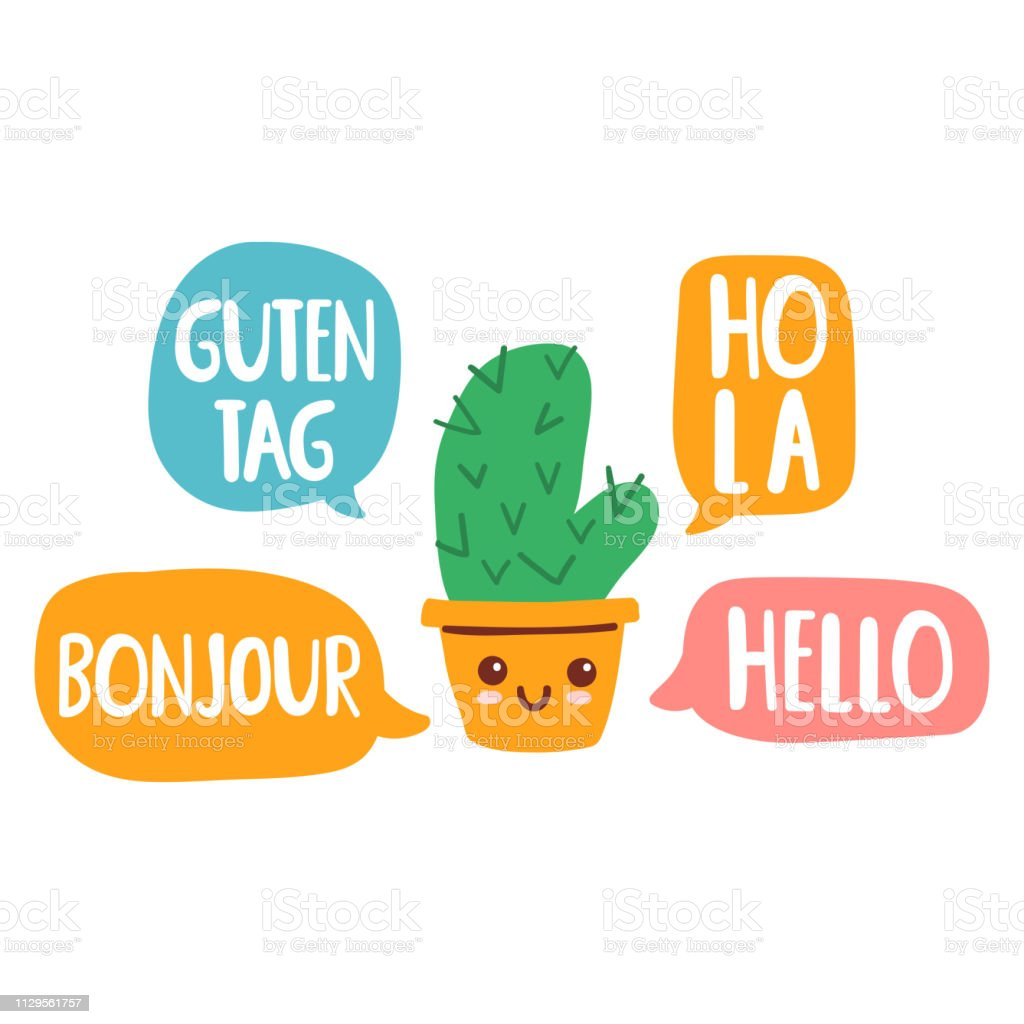 Cactus speak in different languages. Vector illustration on white background. vector art illustration