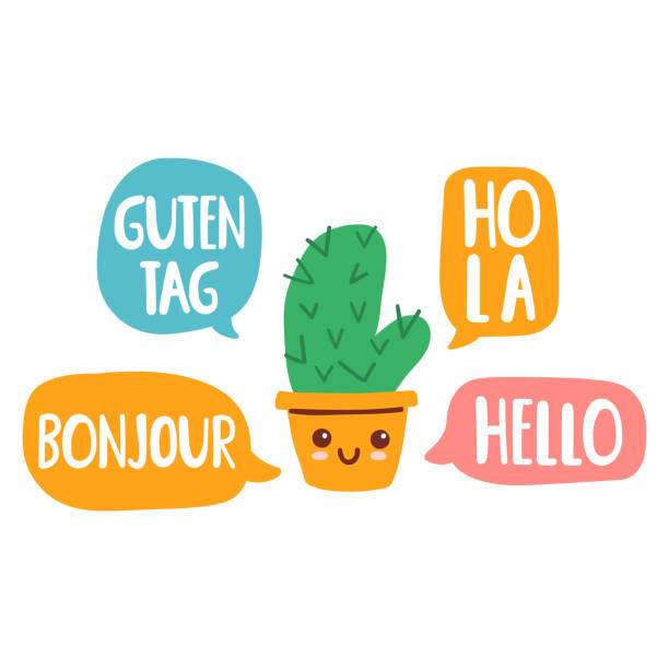 illustrazioni stock, clip art, cartoni animati e icone di tendenza di cactus speak in different languages. vector illustration on white background. - spagnolo lingua