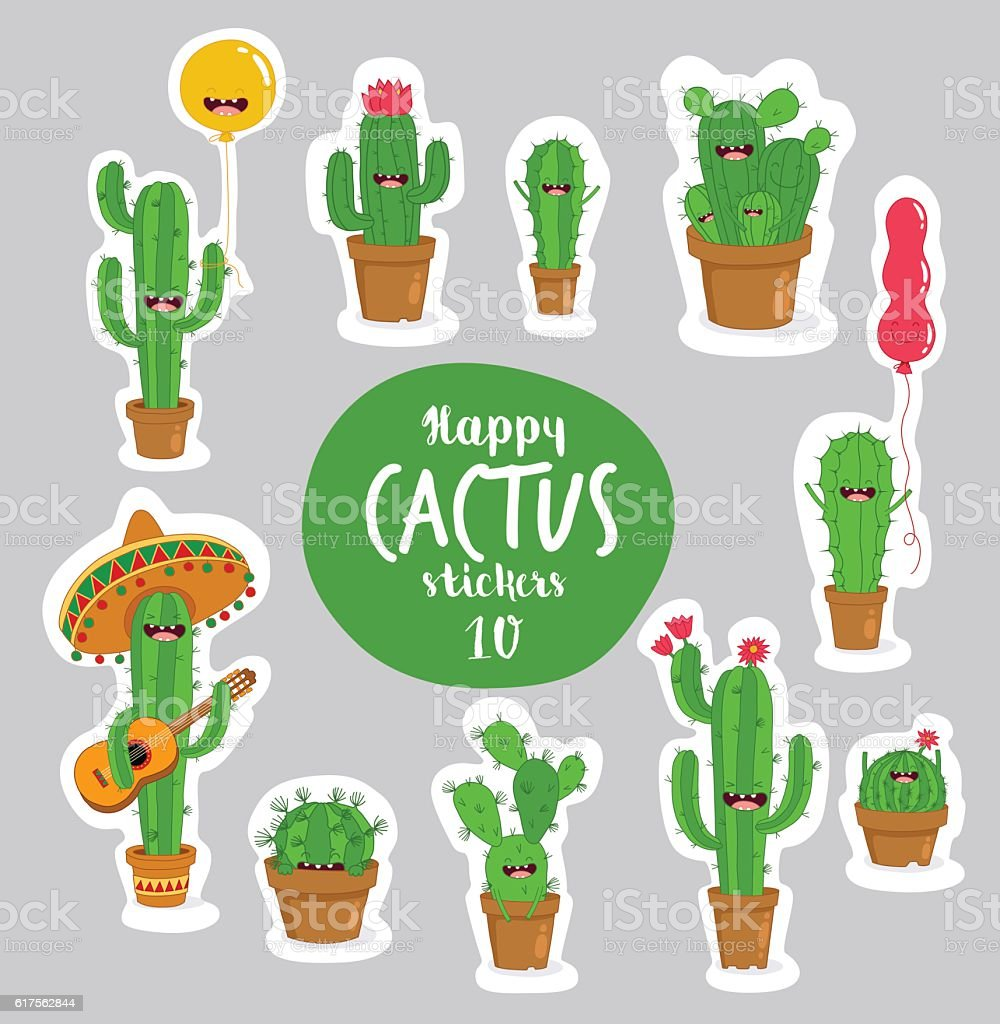 cactus stickers vector art illustration