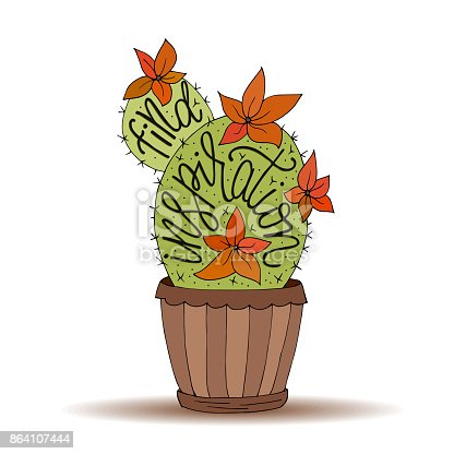 Cactus Succulents Vector Illustration With Handdrawn Lettering Quote Stock Vector Art & More Images of Alphabet 864107444