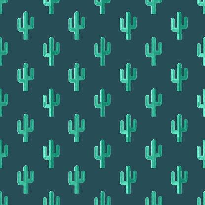 Cactus Wild West Seamless Pattern
