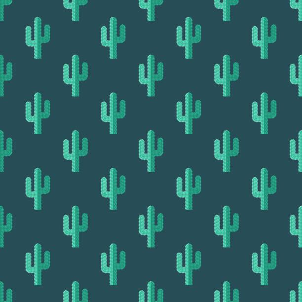 stockillustraties, clipart, cartoons en iconen met cactus wilde westen naadloze patroon - cactus