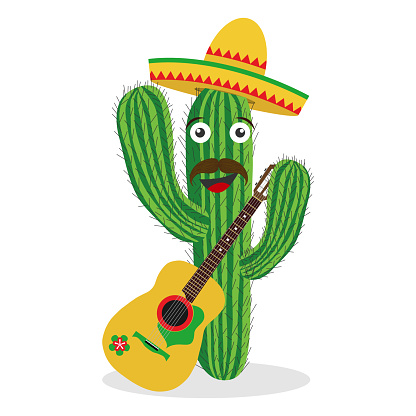 Cactus with a sombrero and a guitar. Mexican cactus.