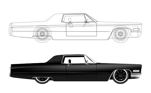 Cadillac Coupe de Ville color black illustratie.ai