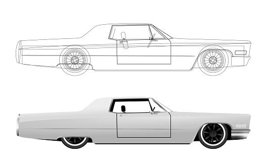 Cadillac Coupe de Ville color white illustration