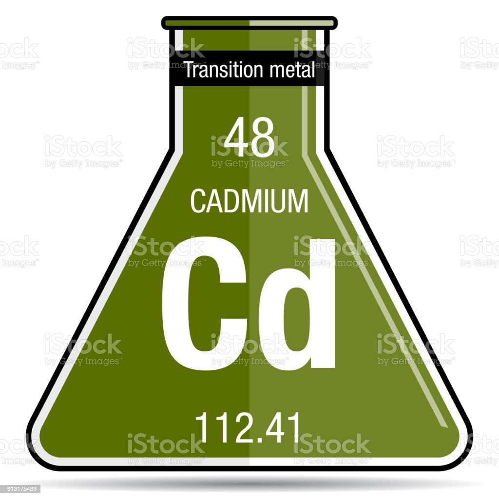 Cadmium Symbol On Chemical Flask Element Number 48 Of The Periodic