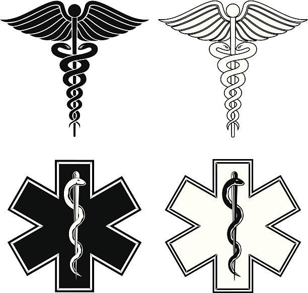 ヘルメスの杖と星の生活 - 救急救命士点のイラスト素材/クリップアート素材/マンガ素材/アイコン素材