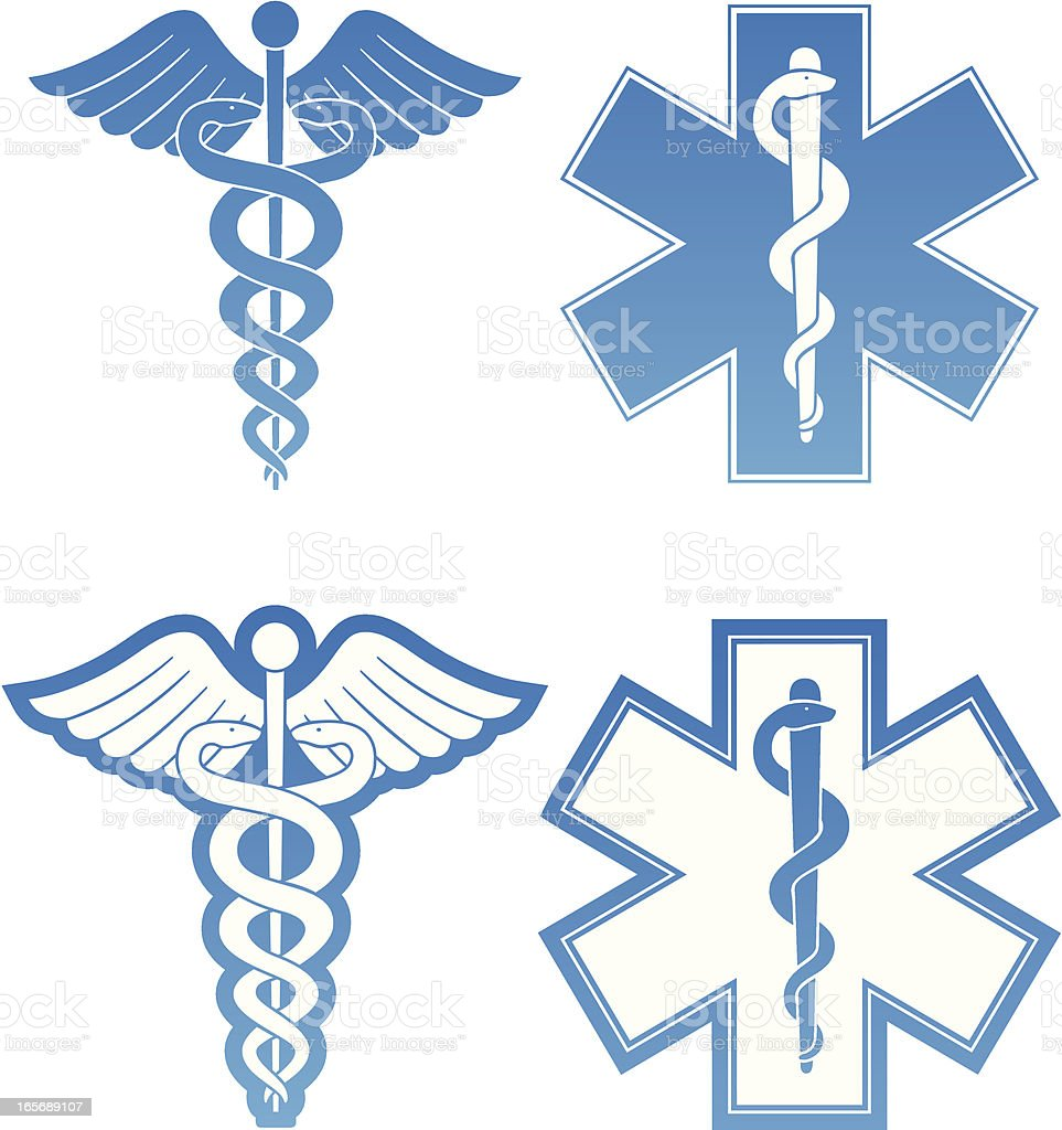 Caduceus and Star of Life vector art illustration