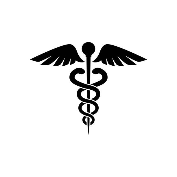 カドゥケウス黒分離ベクトル アイコン。薬アイコンのシンボルです。 - ヘルメスの杖点のイラスト素材/クリップアート素材/マンガ素材/アイコン素材