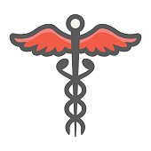 Caduceus filled outline icon, medicine and healthcare, pharmacy sign vector graphics, a colorful line pattern on a white background, eps 10.