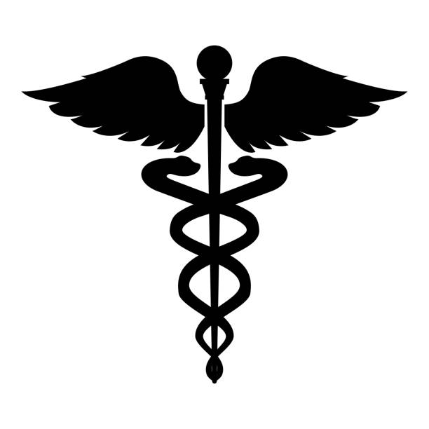 Caduceus health symbol Asclepius's Wand icon black color illustration flat style simple image Caduceus health symbol Asclepius's Wand icon black color vector illustration flat style simple image snake stock illustrations